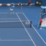 Ballgirl gets hit in the face at the Australian Open