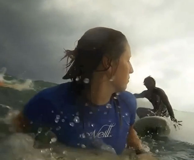 gopro wipeout surfboard to the face looks quite sore!