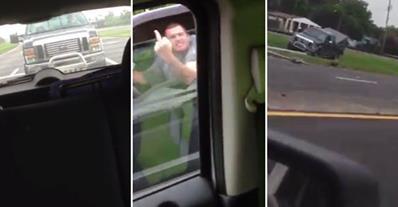 Redneck Road Rage Ends With Instant Karma