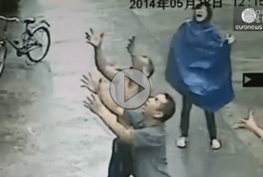 Man Saves Falling Baby With Amazing Catch Video.