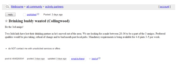 Irish lads in Melbourne advertise on Craigslist for a new drinking buddy
