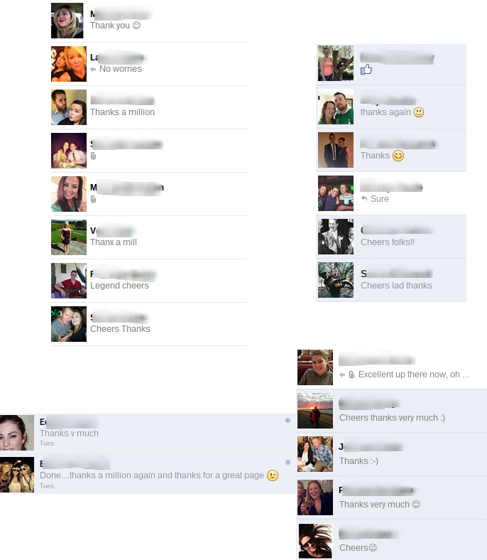Screenshots from some of our Facebook pages and how we help Irish in Australia