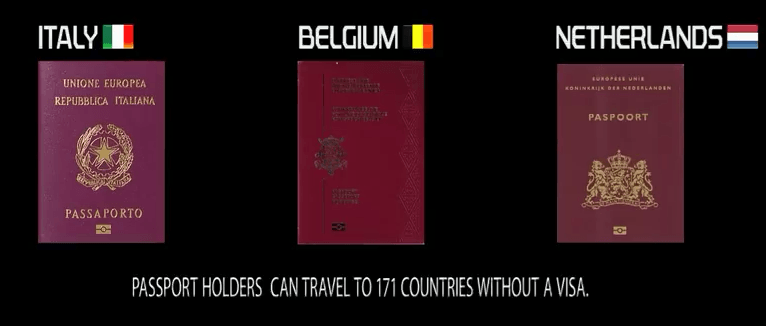 2nd Most powerful passport in the world: Italy Belgium Netherlands