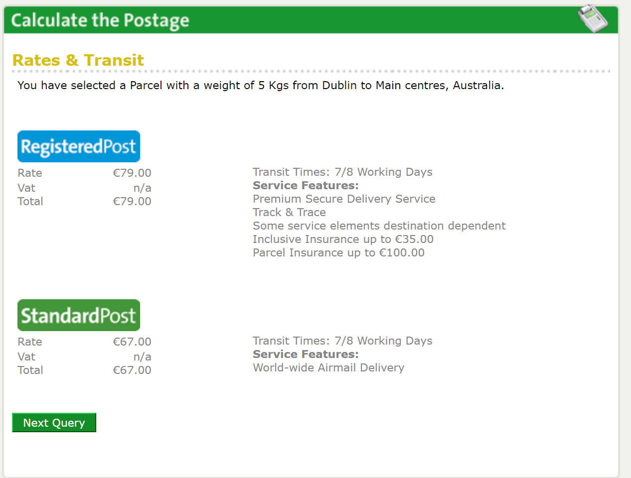send a package from australia to ireland