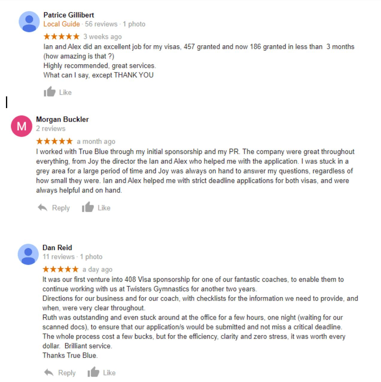 True Blue MIigration Google Reviews
